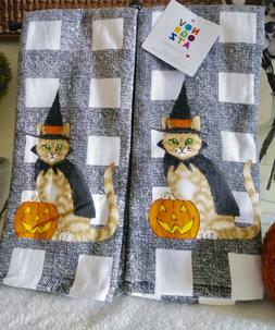 Novogratz Kitchen Towels Set Of 2 WITCH CAT CHECKERED/GINGHA