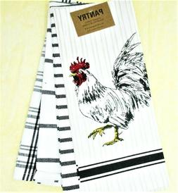 """Kitchen Towels Set of 4 dish hand 18x28"""" Rooster and Black &"""