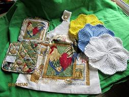 Knitted Top Kitchen Towel Gift Set Rooster with 2 potholders