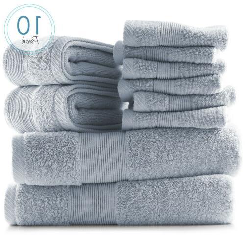 10 Piece Ultra 100% Cotton Towels & Washcloths Set