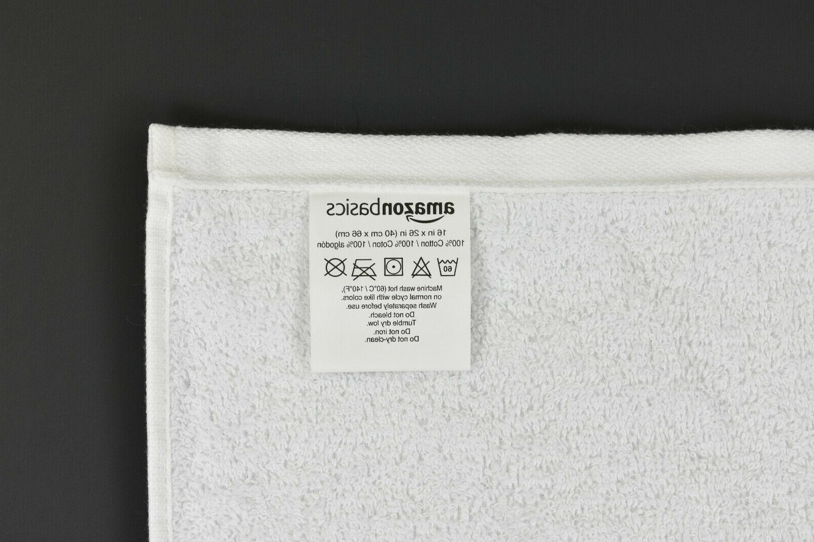 "AmazonBasics 100% Towels Pack 6, 16"" 26"" Solid White"