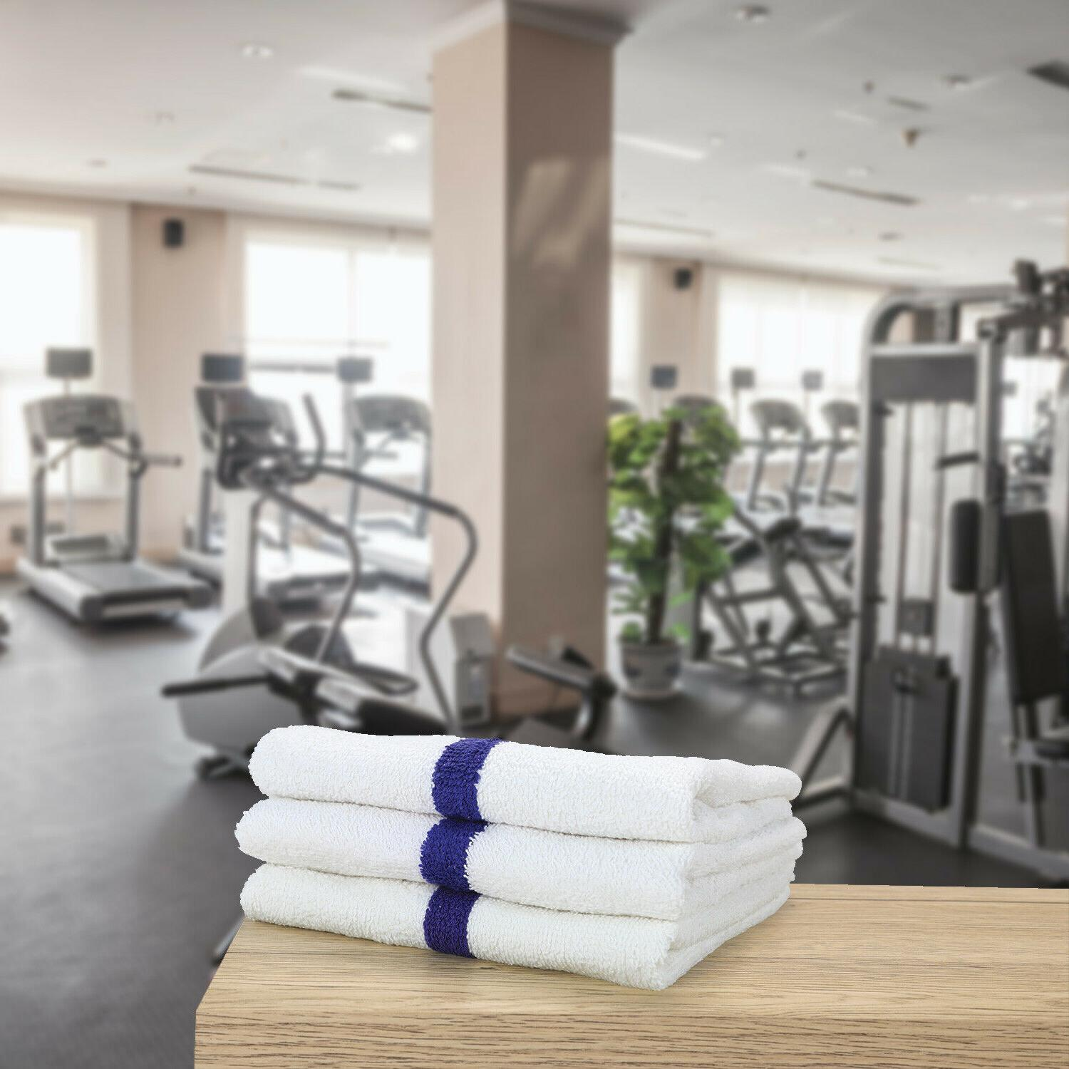 12 Pack of Gym Hand Towels 16 x 27 Absorbent Cotton Striped