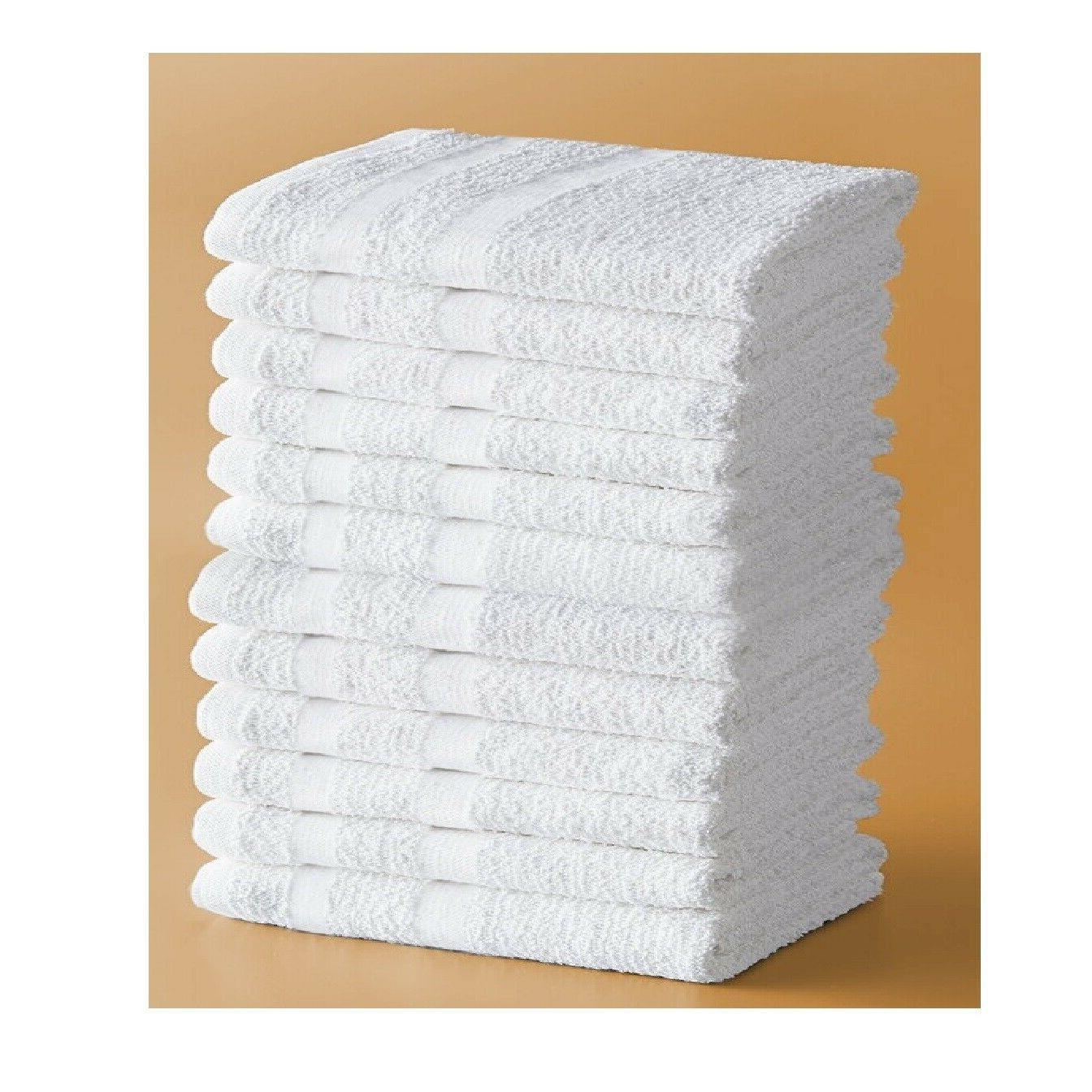12 pieces Hand Towels Set White Color Cotton Towel Set 16x35