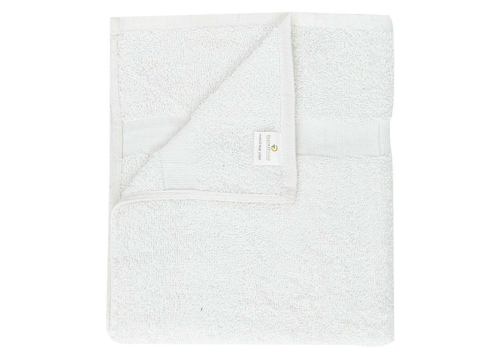 """GOLD 12PCS White16""""x27"""" Pure Cotton Towels"""
