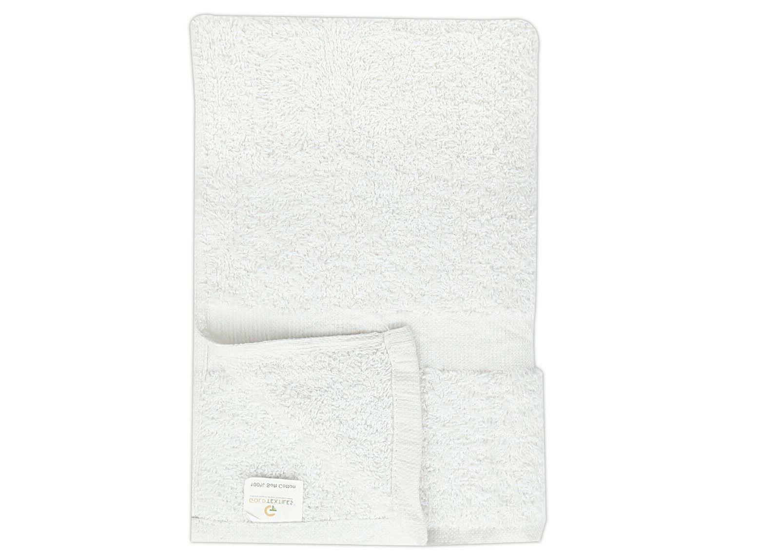 """GOLD TEXTILES 12PCS White16""""x27"""" Pure Hand/Salon/Gym/Hotel Towels"""