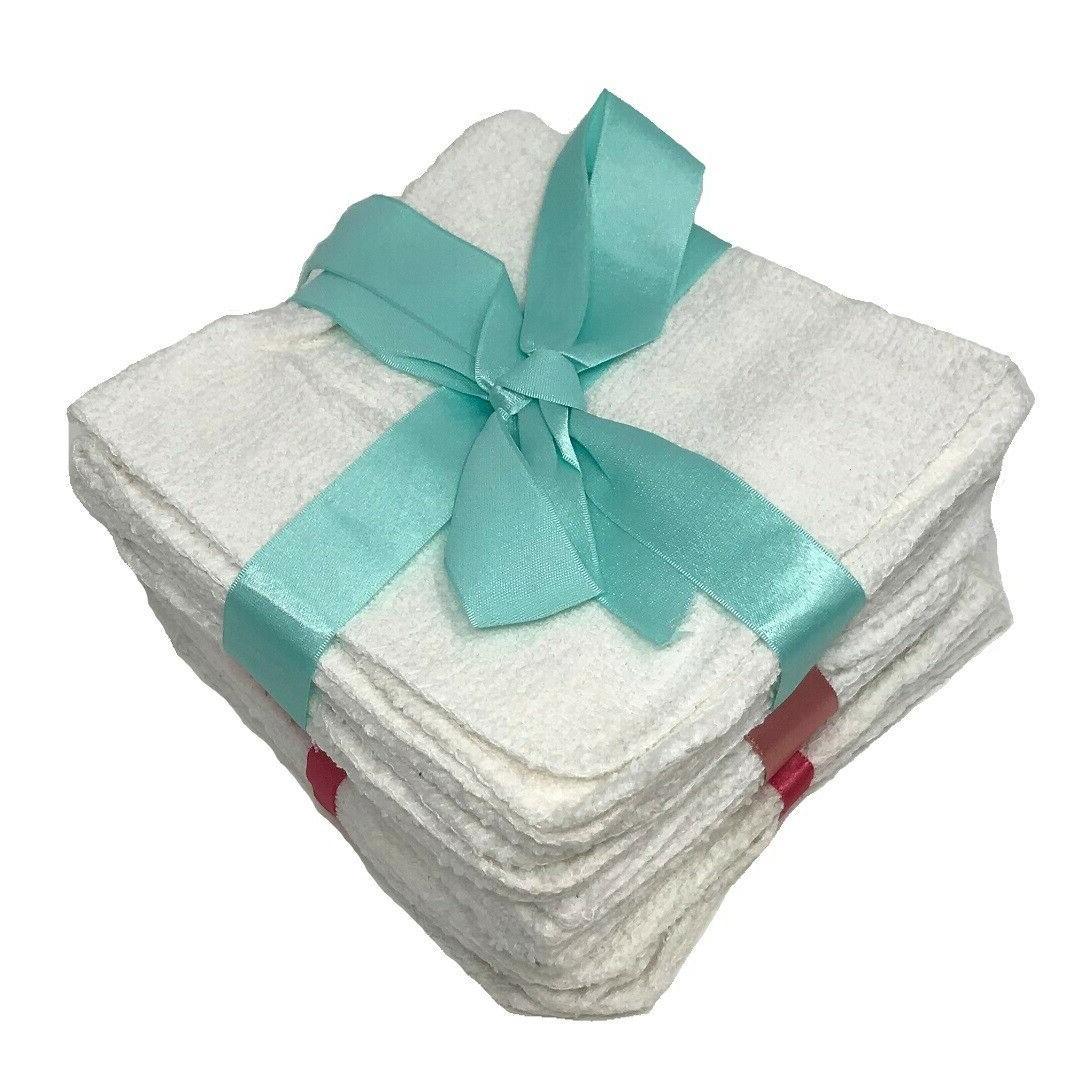 Dozen White Hotel Washcloths Towel 12x12 wash cloths Hand Gy