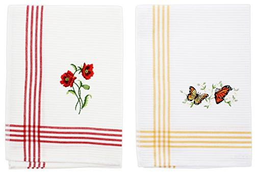 2 embroidered hand towels