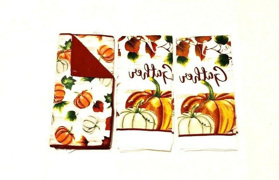 2 Kitchen Dish Mat Harvest Thanks Holiday Print NWT