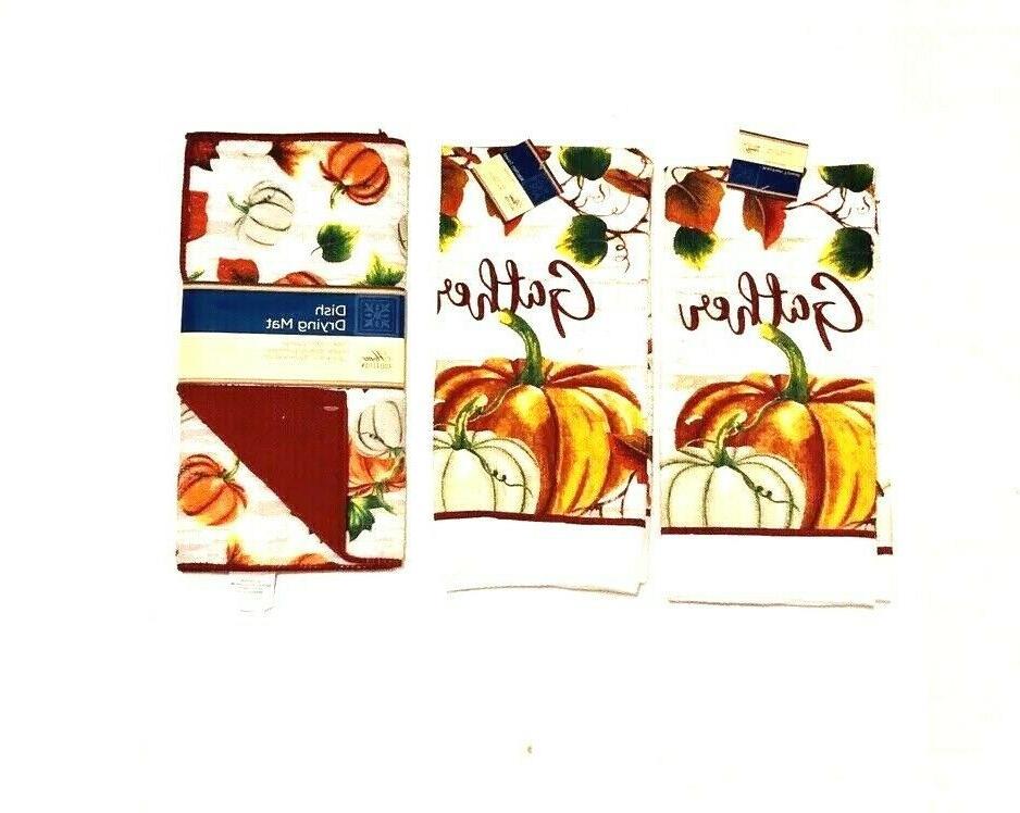 2 Kitchen Hand Dish Mat Thanks Giving Holiday Print NWT