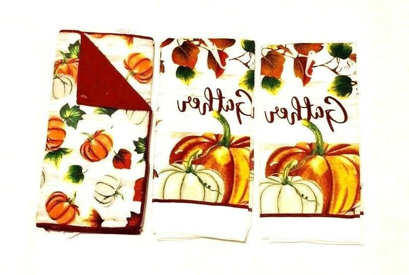 2 hand towels dish drying mat harvest