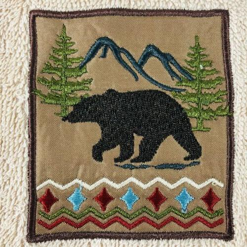 2 Towels Embroidered Mountain Hunting New