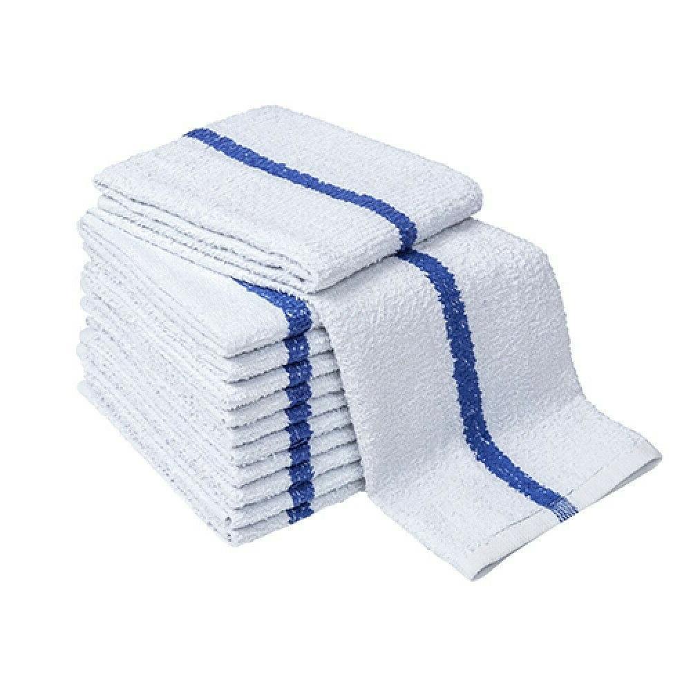 24 New Blue Center Stripe Towels Absorbent 100%COTTON