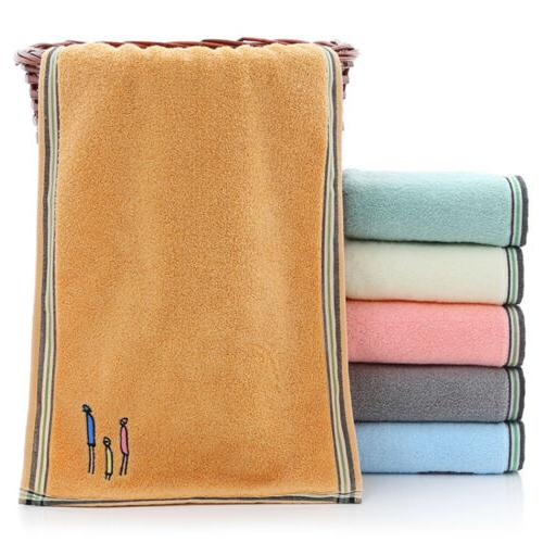 2Pcs Cotton Towels Embroidery Gym Thick Sheet 14x29""
