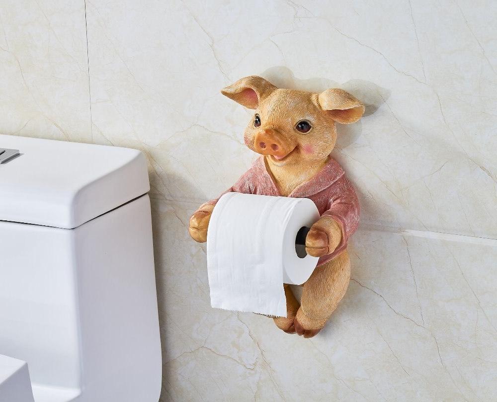 3D <font><b>Paper</b></font> Holder Toilet Free Punch Pig Tissue Box <font><b>Towel</b></font> Spool Device