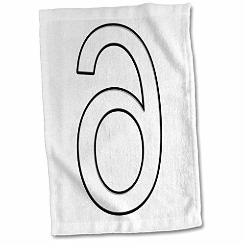 3dRose Numbers - Number 6-15x22 Hand Towel