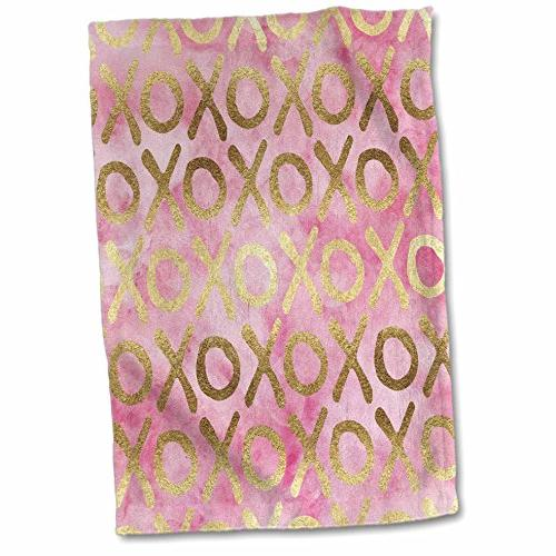 3dRose PS Inspiration - Image of Gold Pink XOXO - 15x22 Hand
