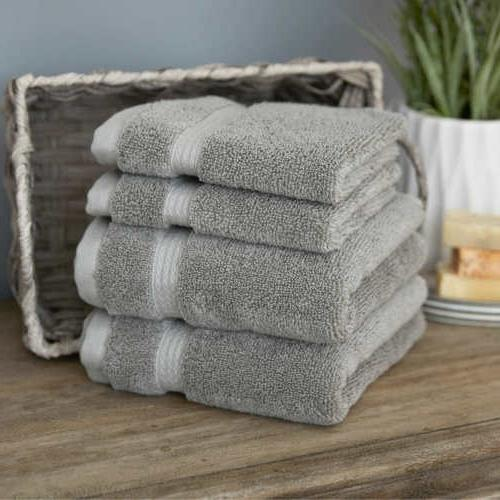 4 Gray Hand Towels and Set Solid Bath Pack