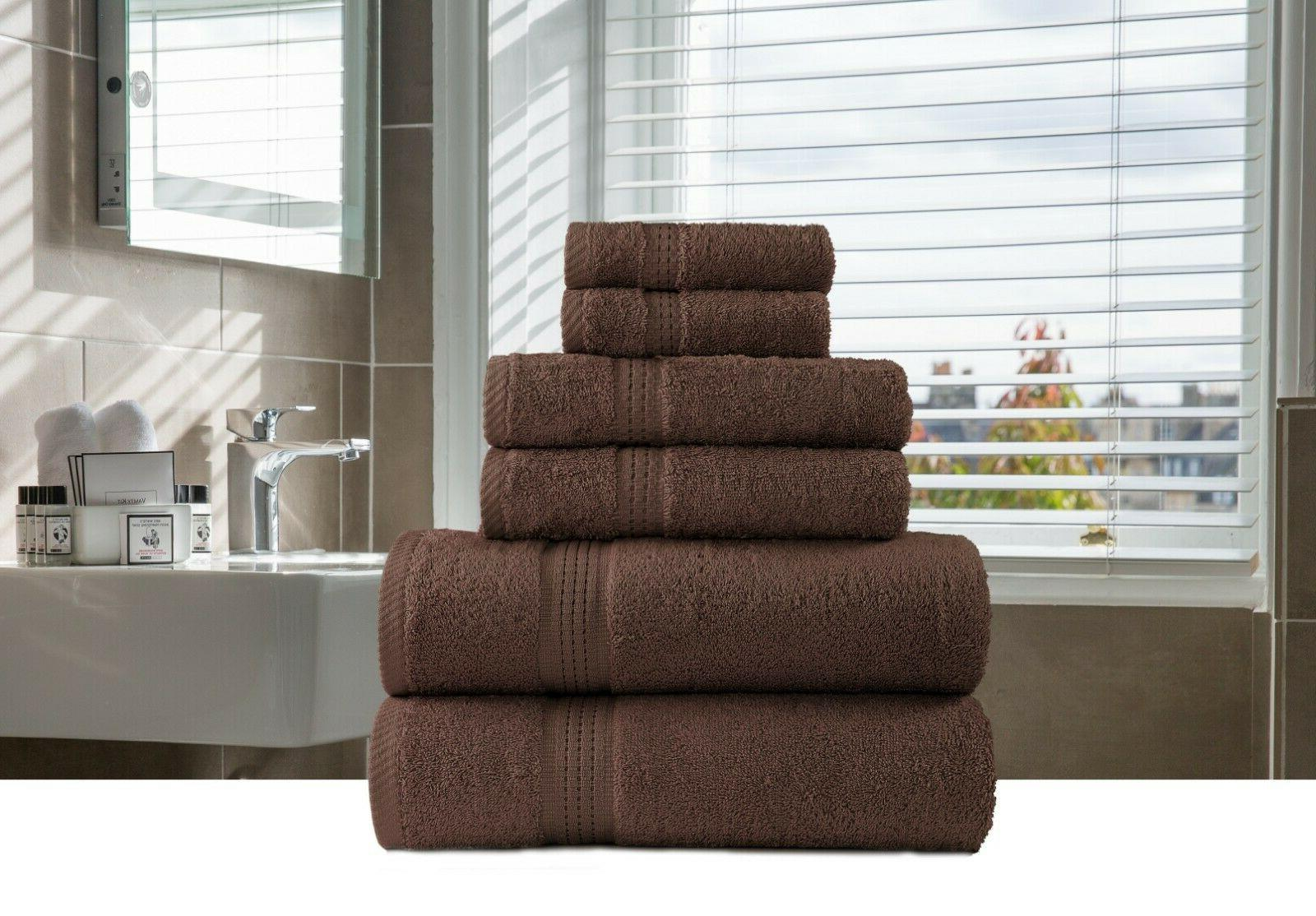 6-Piece Bath-Hand-Face Towels Sets 100% Organic Multi