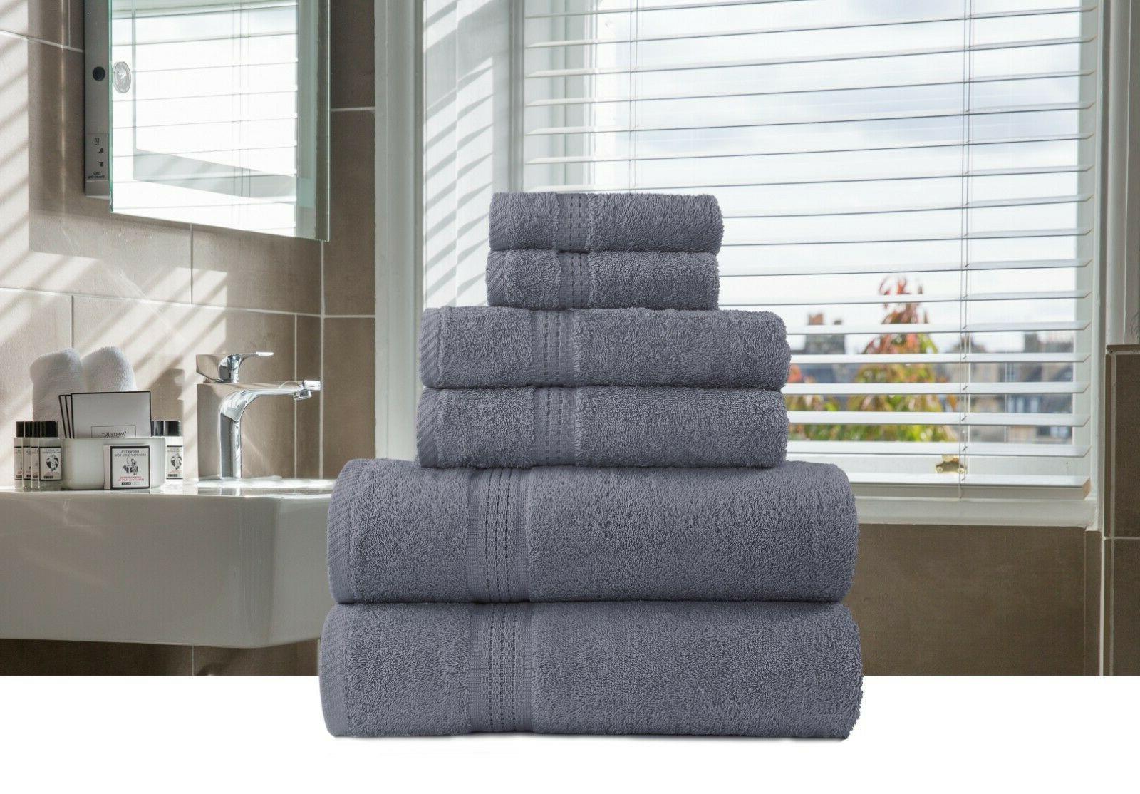 6-Piece Bath-Hand-Face Sets 100% Cotton Multi Color