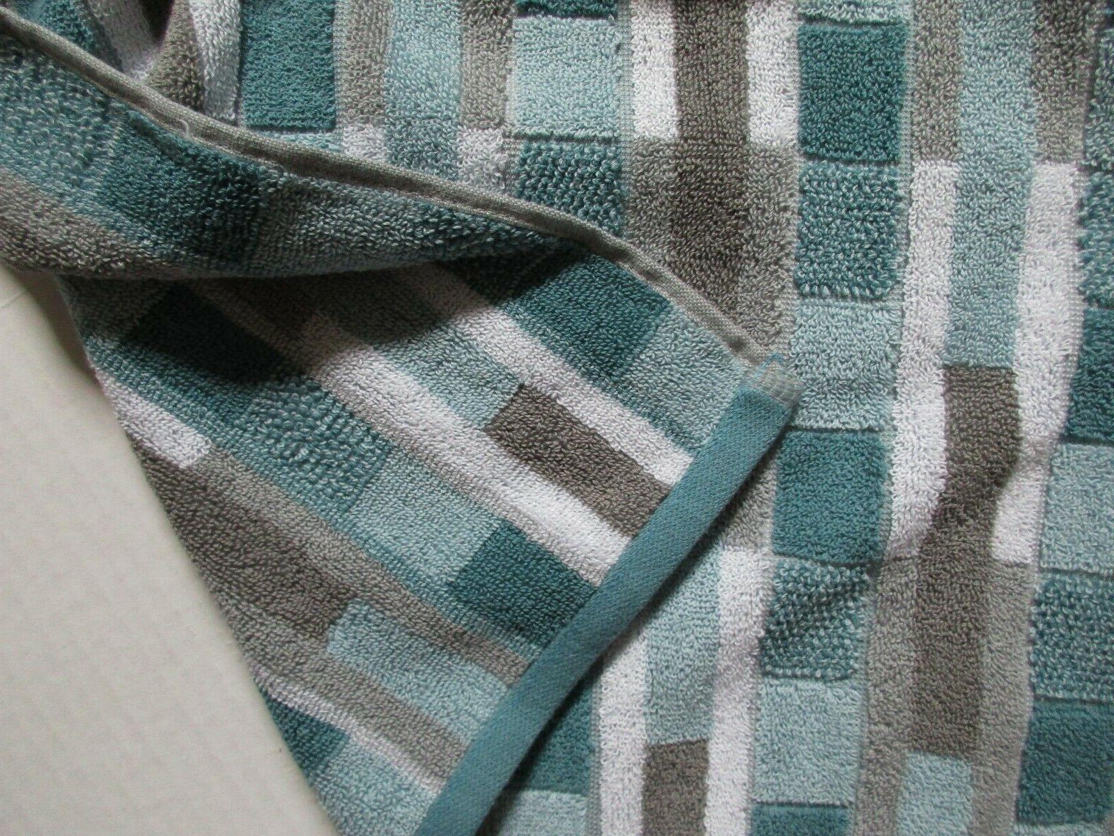 6Pc Geometric Bath Towels~Aqua/Gray/Turquoise/White~Bath~Hand~Face
