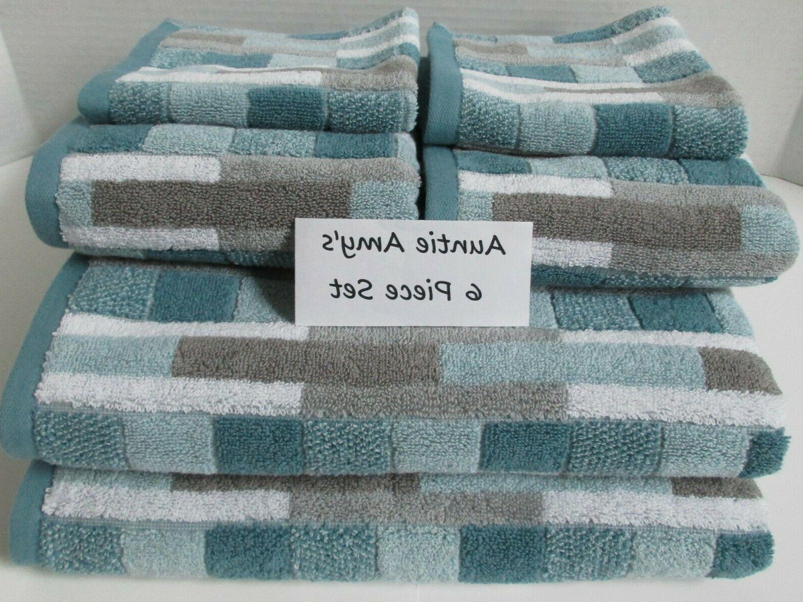 6pc set geometric stripe bath towels aqua