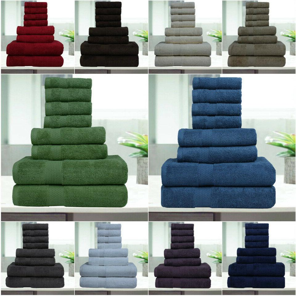 8 pc luxury towel set 100 percent