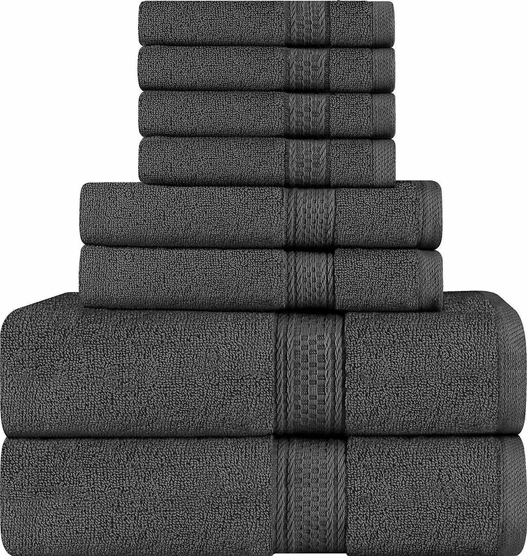 utopia towels 8 piece towel set dark