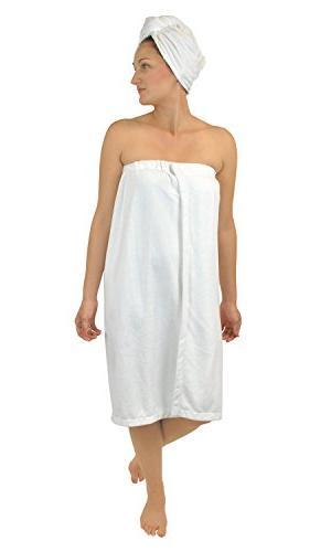 DII Women's Adjustable Microfiber Plush Spa Bath Shower Wrap