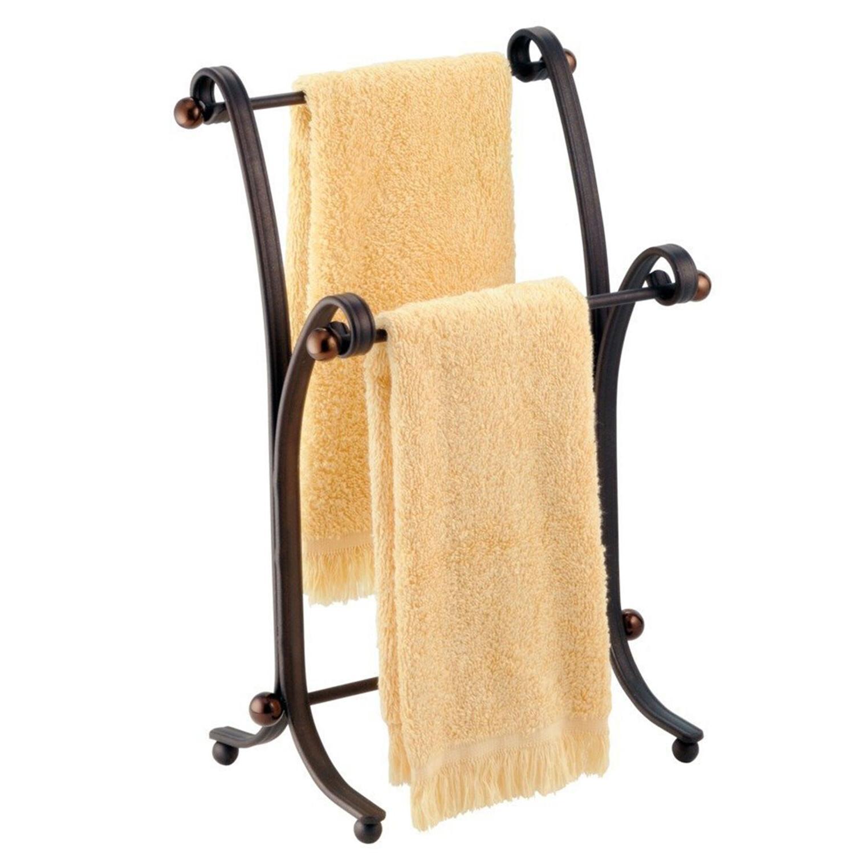 Bath Hand Towel Stand Rack Bronze Bathroom Standing Holder S