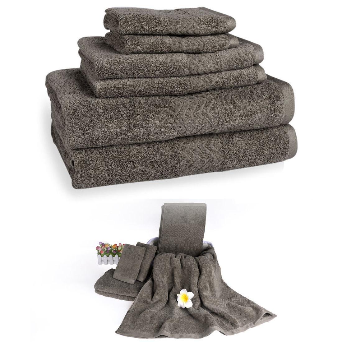 Bath Set Bathroom Towels Washcloths 100% Cotton 6 Solid Colors