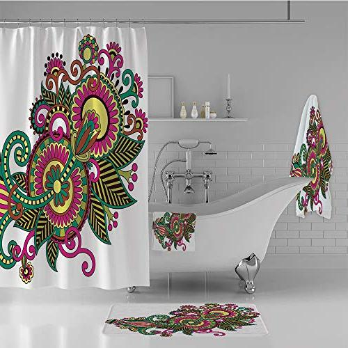 bathroom set shower curtain floor