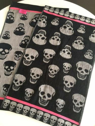 Betsy 2 Skulls Blk/Pop Bath Hand Towels