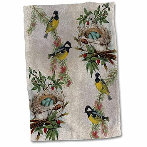 birds nests vintage towel