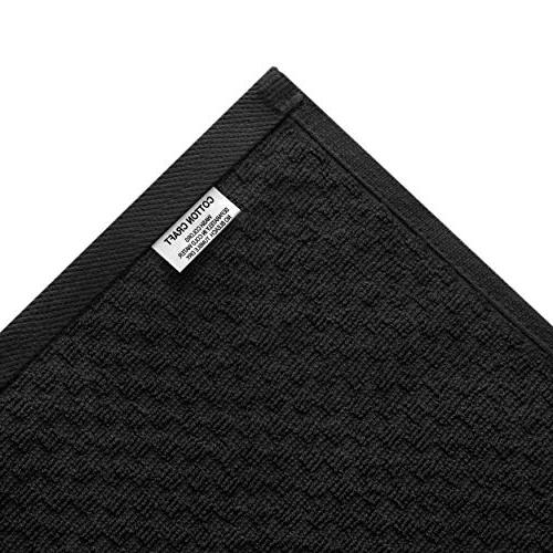 Cotton Pack Cafe Waffle Terry Towels - -Black Quality 100% 2 - Highly Absorbent Low - Multi