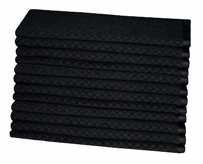 Cotton Pack - Waffle Weave Towels 16x28 -Black 400 Quality 2 Highly Absorbent
