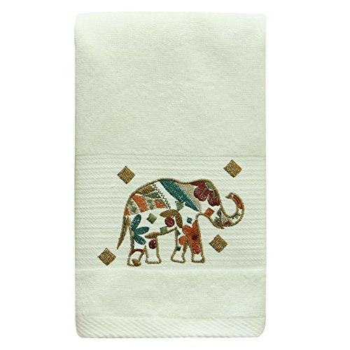 boho elephant embroidered hand towel