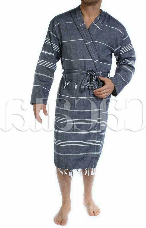 Cacala Hooded Fabric 100% Turkish Kimono Black