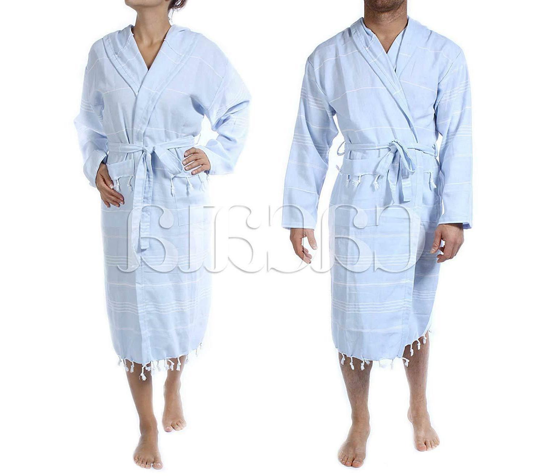 Cacala Hooded Pestemal Fabric Kimono Unisex Black