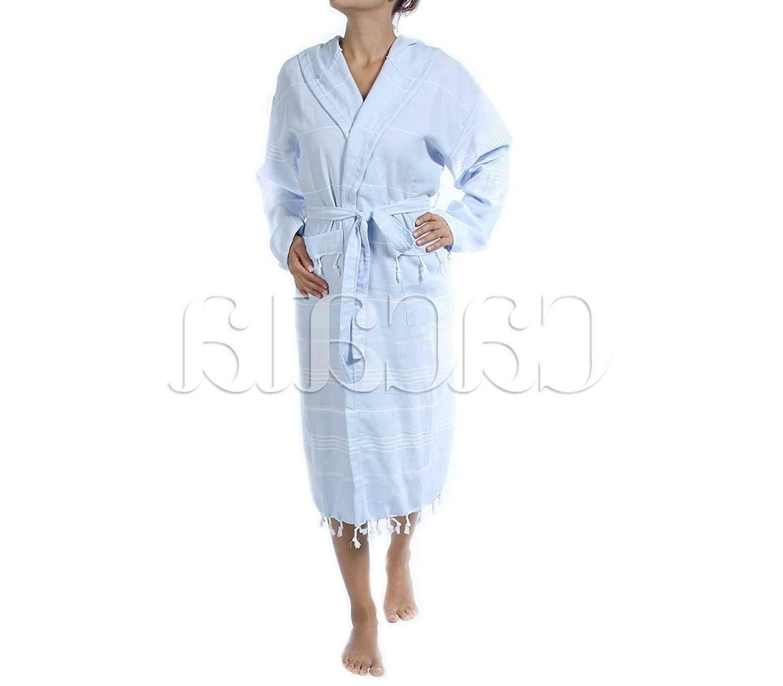 Cacala Hooded Bathrobe Pestemal Kimono Unisex Black