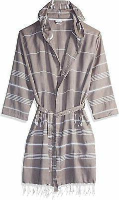 Cacala Hooded Bathrobe Pestemal Fabric 100% Turkish Cotton K