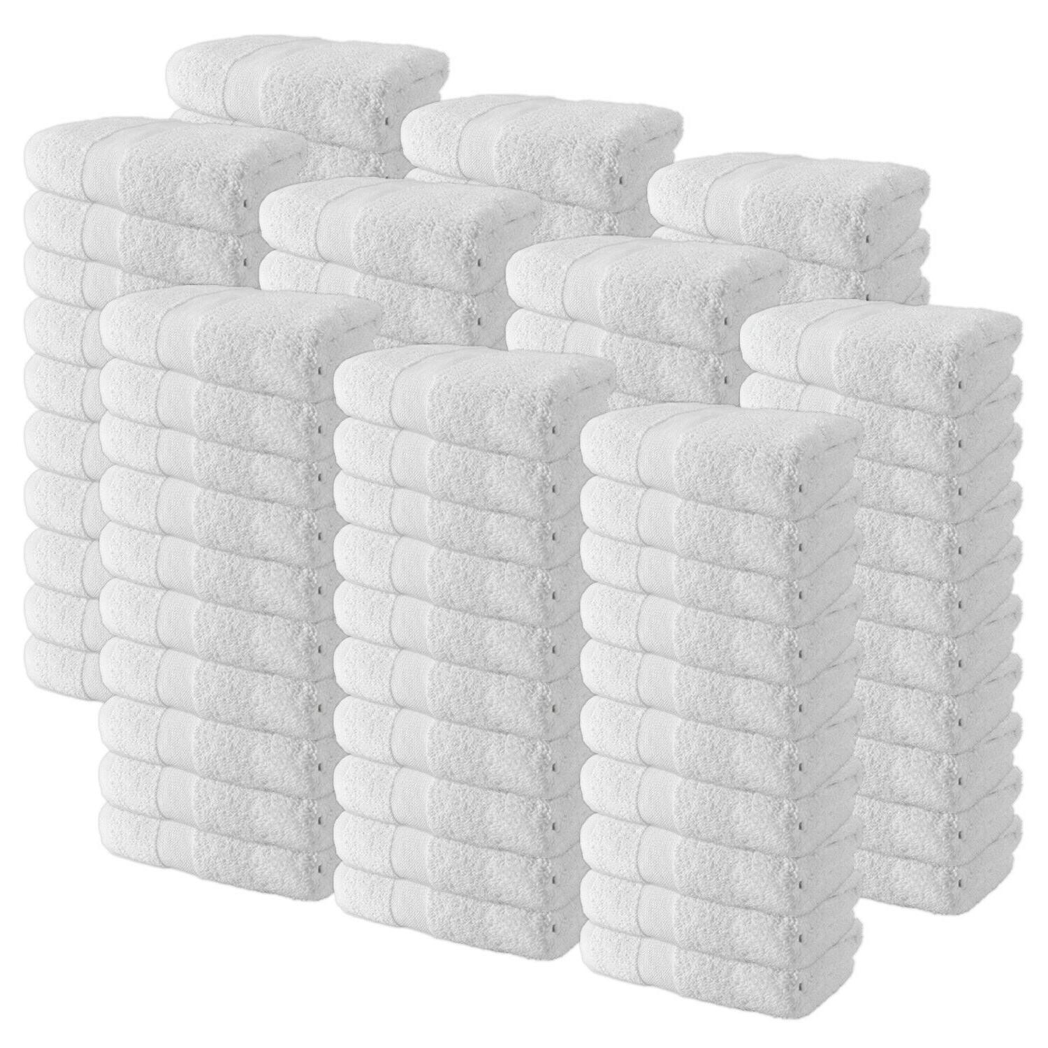 case of 120 cotton hand towels white