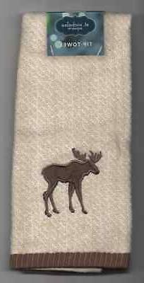 Christmas Bath Fingertip Hand Towel Chevron Brown & Tan Moos