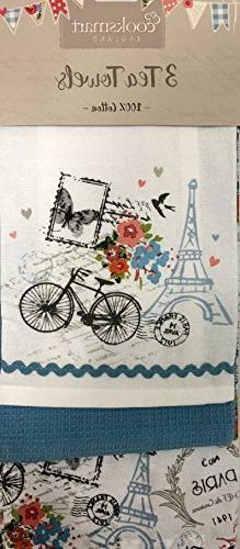 Cooksmart England Set of 3 Tea Towels Featuring Paris in Spr