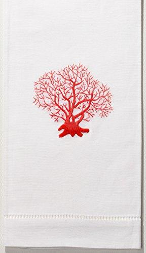 coral red hand towel