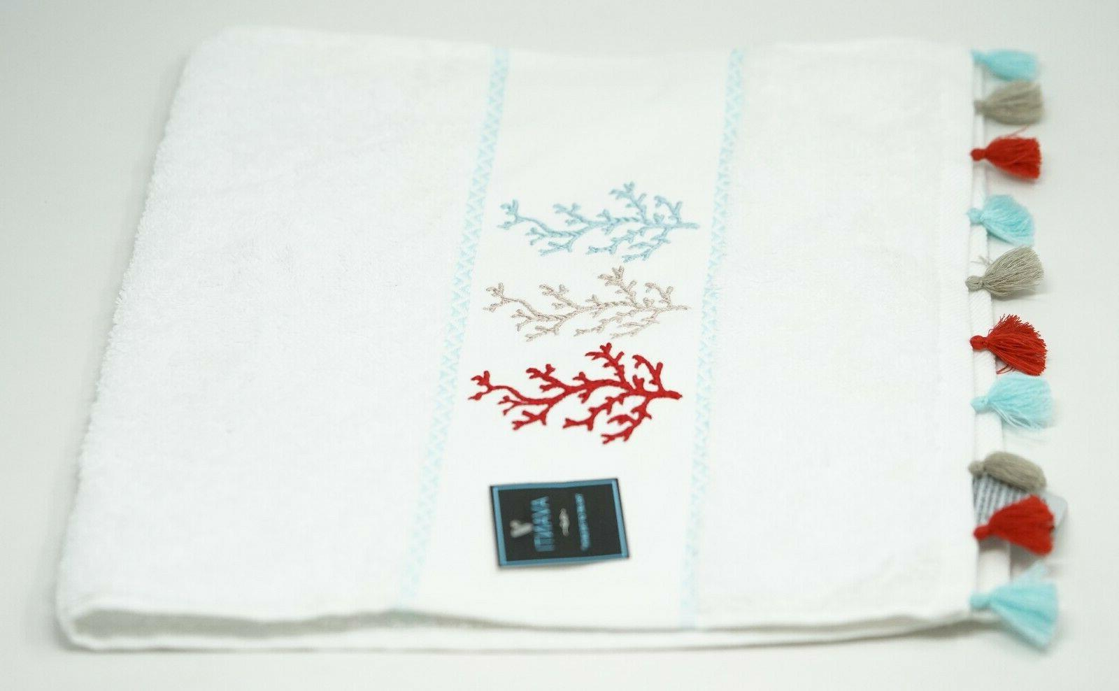 coral trio cotton hand towel with tassels