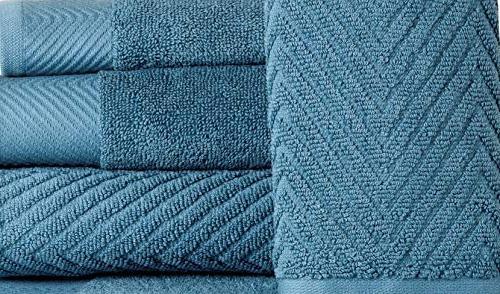 6 Piece Bath - 2 Bath 2 Hand Washcloths Machine Washable Hotel Spa Quality Towel Towel Set - Blue Stone