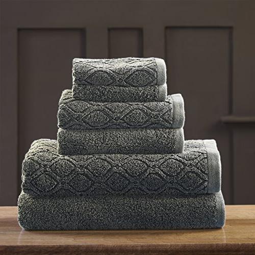Superior 100% Denim Wash 6-Piece Solid Geometric Diamond Jacquard Thick, and Bath Towels, Wash -