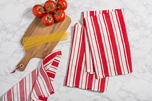 """DII Cotton Gourmet Stripe Dish 28"""" of Herringbone Kitchen for Cleaning, Drying, Baking-Tomato"""