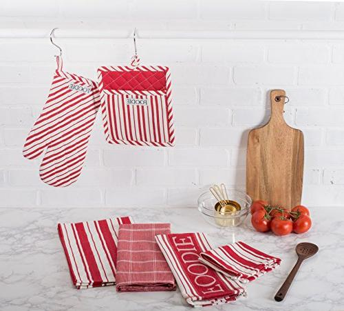 "Dish 28"" Set Herringbone Absorbent Dishtowels for Baking-Tomato"