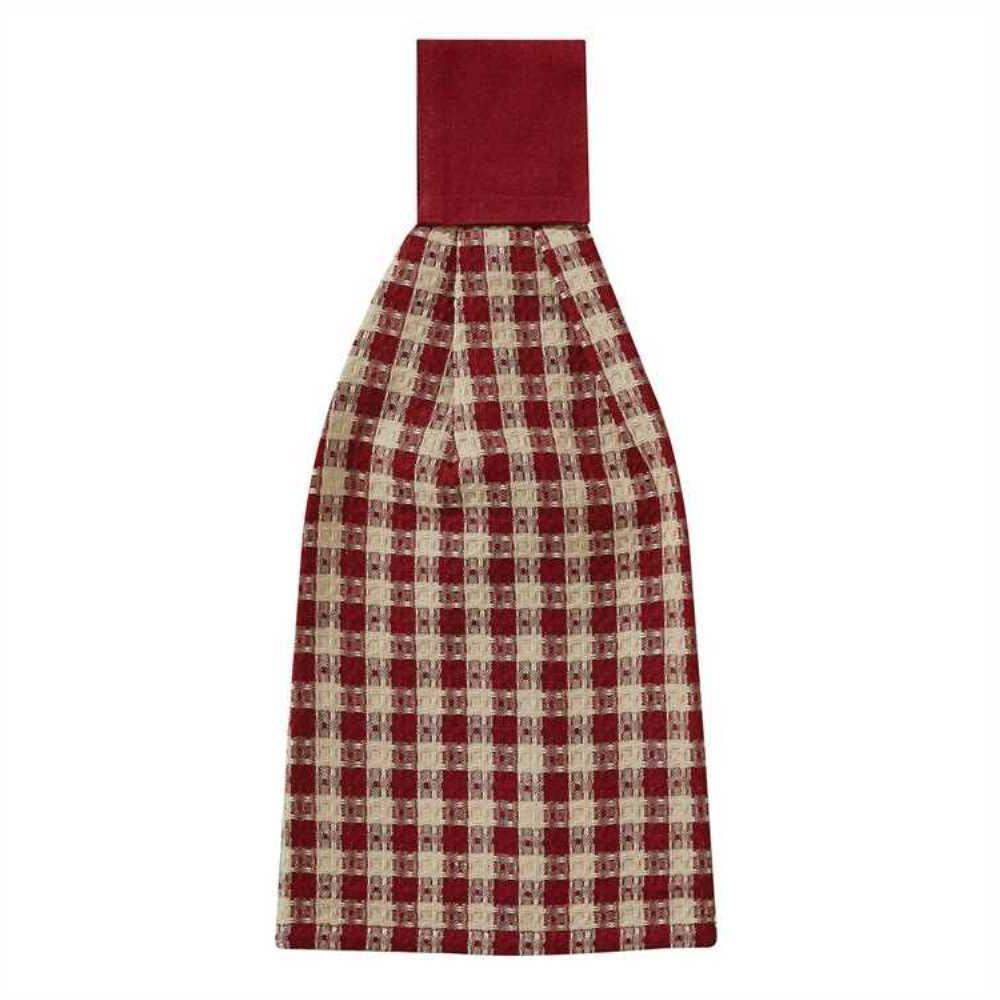 Country Crochet Gingham Hand Towel Red Tan Check Waffle-Weav